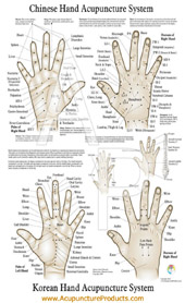 Hand reflexology chart: acupuncture products.