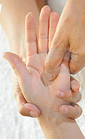 Hand reflexology technique.