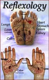 Reflexology: hands & feet.